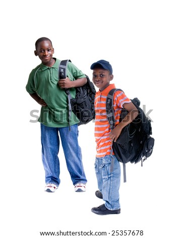 Two young african American students - stock photo