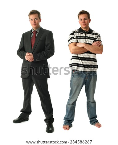 Two young businessmen wearing formal and casual clothes isolated on white - stock photo