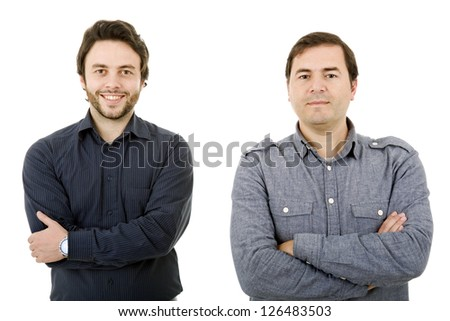 two young casual men portrait, isolated on white - stock photo
