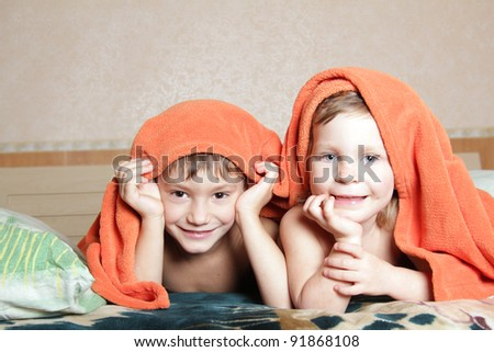 two young children at home - stock photo