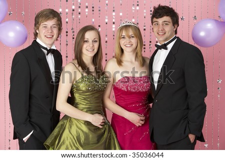 Two Young Couples Dressed For Party - stock photo