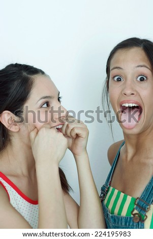 Two young female friends making faces, portrait - stock photo
