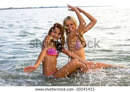 two young girl bathed in the Sea of Azov - stock photo