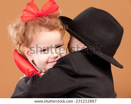 Two young ladies in costume Studio shot - stock photo