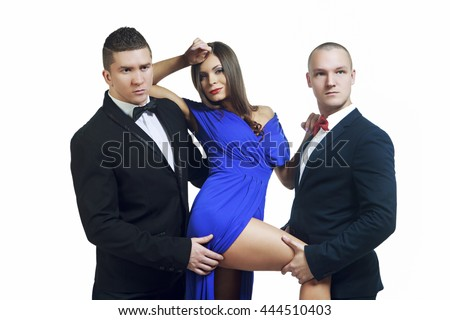 two young men and a woman isolated against white background - stock photo