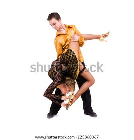 two young modern acrobats posing against isolated white background - stock photo