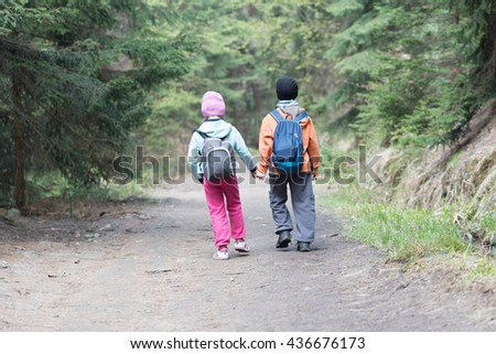 Two young siblings, brother and sister, walking alone in the forrest on an a cold day holding each other with hands - stock photo