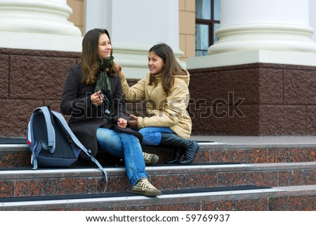 Two young teenage students. - stock photo