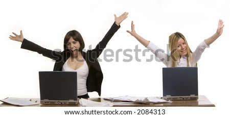 Two young women celebrating - stock photo