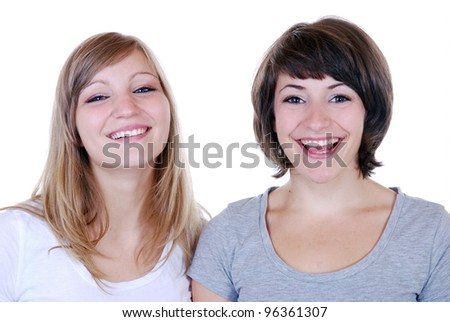 two young women laughing - stock photo