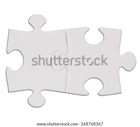 twoPuzzle pieces isolated on the white  background cutout - stock photo