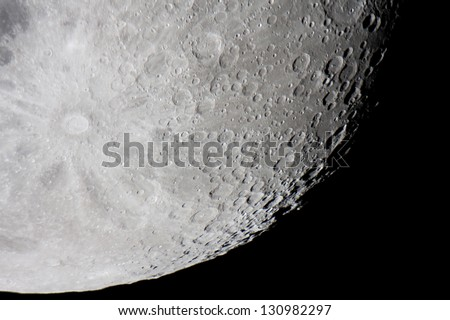 Tycho is a prominent lunar impact crater located in the southern lunar highlands - stock photo