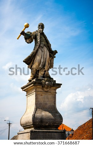 TYKOCIN, POLAND - MAY 10, 2010:  Statue of the hetman Stefan Czarniecki, monument at the Market Square - stock photo