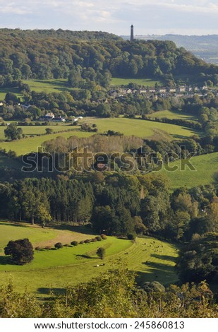 Tyndale Monument & North Nibley Viewed from Drakestone Point - stock photo