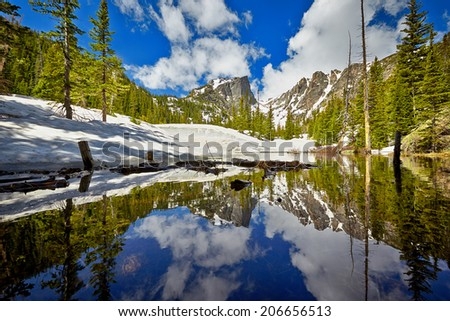 Tyndall Creek close to Dream Lake at the Rocky Mountain National Park, Colorado, USA - stock photo