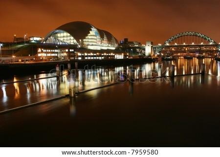 Tyne bridge and The Sage Gateshead - stock photo