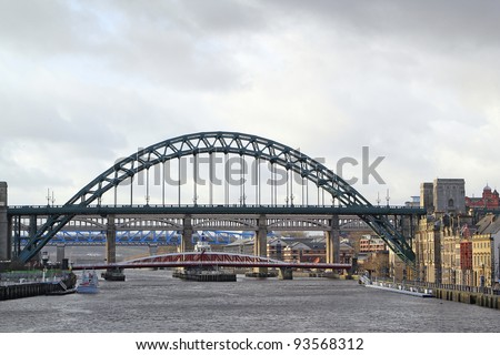 Tyne Bridge spanning the river, Newcastle-upon tyne - stock photo