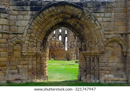 TYNEMOUTH - 15 JUNE : Ruins of the priory at 15 June 2015 in Tynemouth, England. The priory was probably founded in the 7th century, but its origin is not exactly known. - stock photo