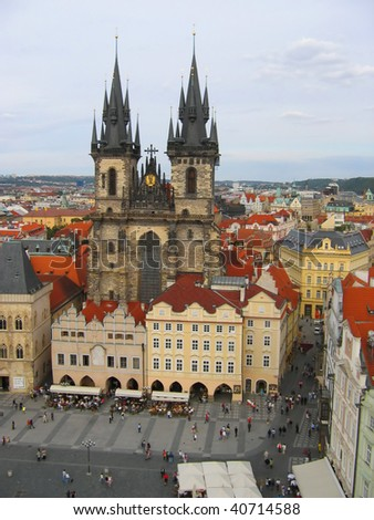 Tynsky church in Prague, Czech republic. - stock photo