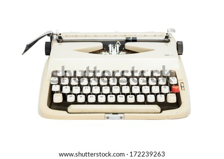 type writer on isolate on white background - stock photo