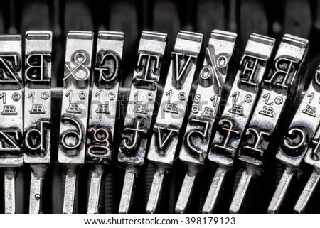 types of an old typewriter - stock photo