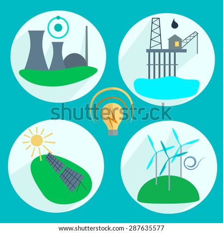 Types of energy production Nuclear power plant, wind turbines, solar panels, oil. Icons into flat style.  illustration - stock photo