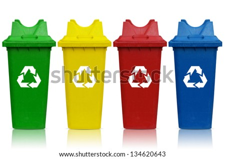 Types of recycling bins with bin green, yellow, red and blue. - stock photo