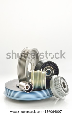 types of roller and timing belt transmission isolated - stock photo