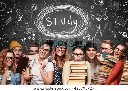 Types of students. Concept of Class - stock photo