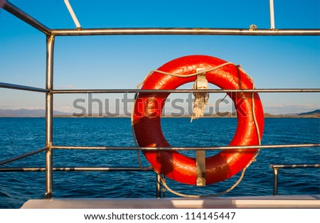 types of the steam-ship against the sea and mountains - stock photo