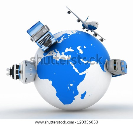 types of transport on a globe - stock photo