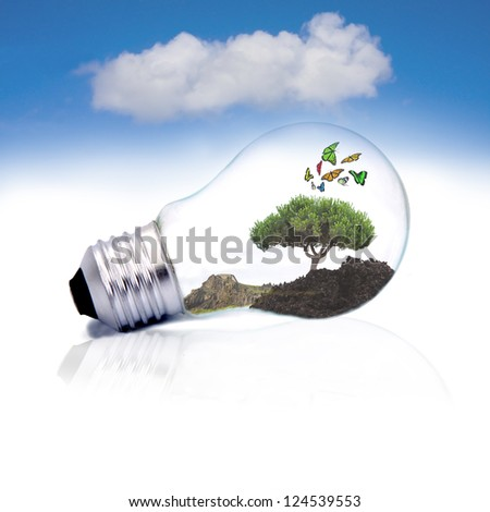 typesetting and bulb assembly with nature, ecology concept - stock photo