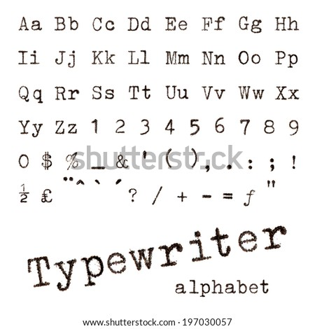 Typewriter alphabet. Macro photograph of typewriter letters isolated on white. - stock photo