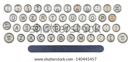 Typewriter buttons isolated - stock photo
