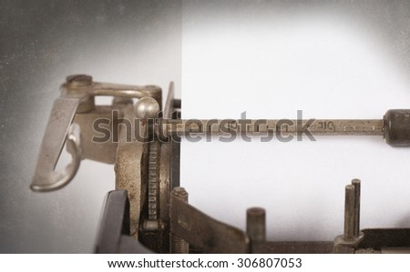 Typewriter detailed macro closeup, blank empty textured copy space - stock photo
