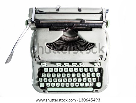 Typewriter from above isolated on white background - stock photo