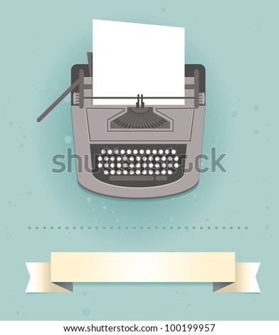 typewriter in retro style -  card - stock photo