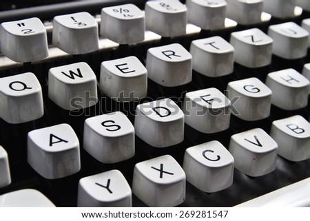 Typewriter keys. Angled shot of keys on an vintage typewriter.  - stock photo