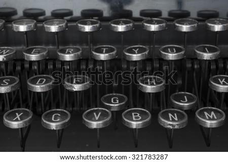 typewriter keys old - stock photo