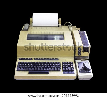 typewriter old Writer journalist news Isolated on black background - stock photo