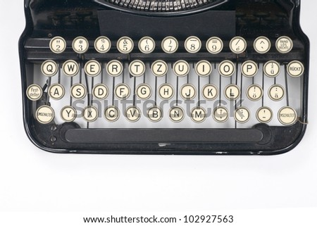 typewriter on white typing type writing write - stock photo