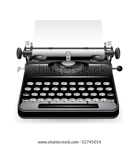 typewriter with a paper - stock photo