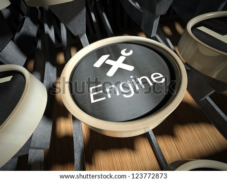 Typewriter with Engine button, vintage style - stock photo