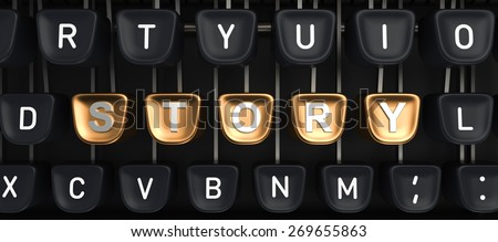 Typewriter with gold buttons in a row, assembling STORY word - stock photo