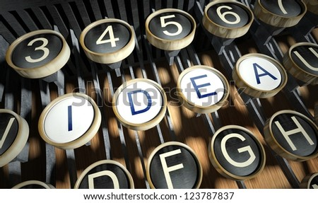Typewriter with Idea buttons, vintage style - stock photo