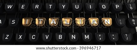 Typewriter with ITALIAN gold buttons - stock photo