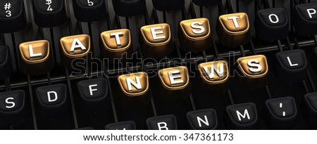 Typewriter with LATEST NEWS buttons - stock photo