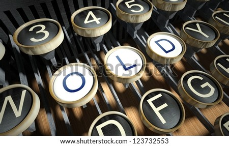 Typewriter with Old buttons, vintage style - stock photo