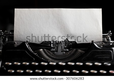 typewriter with paper sheet. Space for your text - stock photo