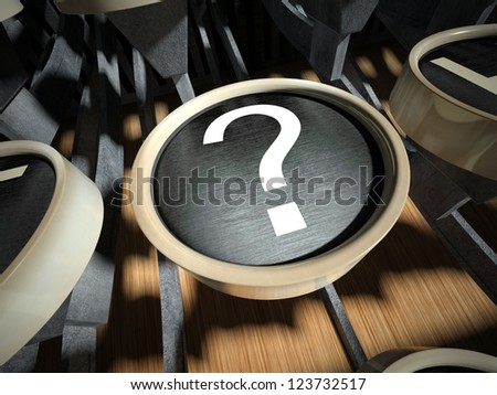 Typewriter with question mark button, vintage style - stock photo